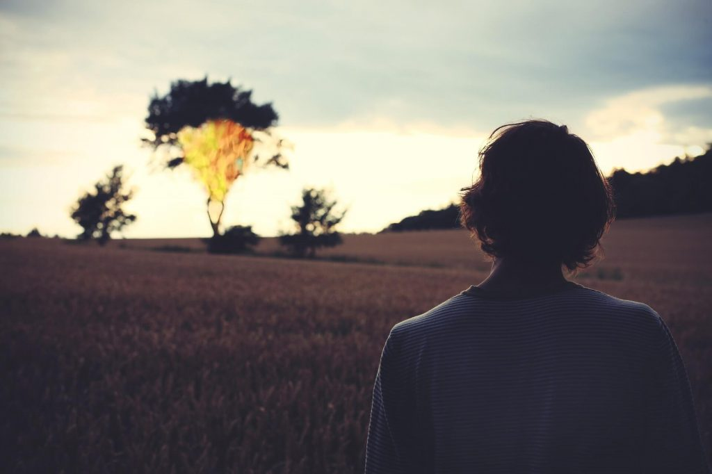 pic of a man watching at far a burning tree